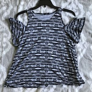 Black & White Tribal Print Off the Shoulder Top